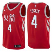 Wholesale Cheap Houston Rockets #4 PJ Tucker Red Nike NBA Men's Stitched Swingman Jersey City Edition