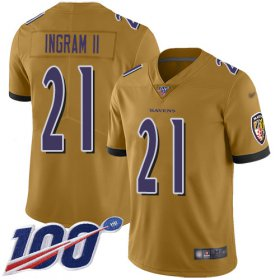 Wholesale Cheap Nike Ravens #21 Mark Ingram II Gold Men\'s Stitched NFL Limited Inverted Legend 100th Season Jersey