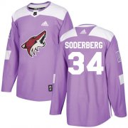 Wholesale Cheap Adidas Coyotes #34 Carl Soderberg Purple Authentic Fights Cancer Stitched NHL Jersey