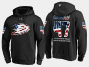 Wholesale Cheap Ducks #47 Hampus Lindholm NHL Banner Wave Usa Flag Black Hoodie