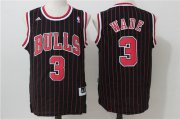 Wholesale Cheap Men's Chicago Bulls #3 Dwyane Wade Black Pinstripe Revolution 30 Swingman Adidas Basketball Jersey