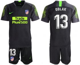 Wholesale Cheap Atletico Madrid #13 Oblak Black Goalkeeper Soccer Club Jersey