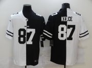 Wholesale Cheap Men's Kansas City Chiefs #87 Travis Kelce White Black Peaceful Coexisting 2020 Vapor Untouchable Stitched NFL Nike Limited Jersey