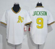 Wholesale Cheap Mitchell And Ness Athletics #9 Reggie Jackson White Throwback Stitched MLB Jersey