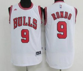 Wholesale Cheap Men\'s Chicago Bulls #9 Rajon Rondo White Revolution 30 Swingman Adidas Basketball Jersey