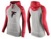 Wholesale Cheap Women's Nike Atlanta Falcons Performance Hoodie Grey & Red_2