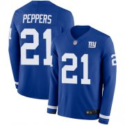 Wholesale Cheap Nike Giants #21 Jabrill Peppers Royal Blue Team Color Men's Stitched NFL Limited Therma Long Sleeve Jersey