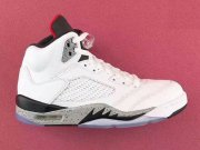 Wholesale Cheap Air Jordan 5 White Cement White/University Red-Black-Silver