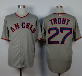 Wholesale Cheap Angels of Anaheim #27 Mike Trout Grey 1965 Turn Back The Clock Stitched MLB Jersey