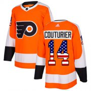 Wholesale Cheap Adidas Flyers #14 Sean Couturier Orange Home Authentic USA Flag Stitched Youth NHL Jersey