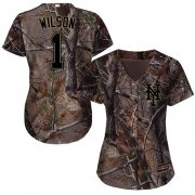 Wholesale Cheap Mets #1 Mookie Wilson Camo Realtree Collection Cool Base Women's Stitched MLB Jersey
