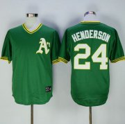 Wholesale Cheap Mitchell And Ness Athletics #24 Rickey Henderson Green Throwback Stitched MLB Jersey