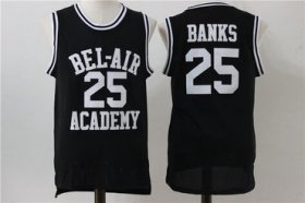 Wholesale Cheap Bel-Air Academy 25 Banks Black Stitched Basketball Jersey