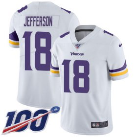 Wholesale Cheap Nike Vikings #18 Justin Jefferson White Youth Stitched NFL 100th Season Vapor Untouchable Limited Jersey