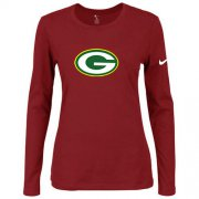 Wholesale Cheap Women's Nike Green Bay Packers Of The City Long Sleeve Tri-Blend NFL T-Shirt Red