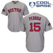 Wholesale Cheap Red Sox #15 Dustin Pedroia Grey New Cool Base 2018 World Series Champions Stitched MLB Jersey
