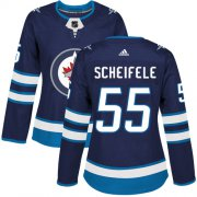 Wholesale Cheap Adidas Jets #55 Mark Scheifele Navy Blue Home Authentic Women's Stitched NHL Jersey