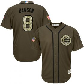 Wholesale Cubs #8 Andre Dawson Green Salute to Service Stitched Youth Baseball Jersey