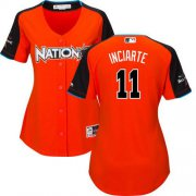 Wholesale Cheap Braves #11 Ender Inciarte Orange 2017 All-Star National League Women's Stitched MLB Jersey