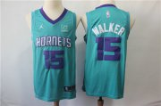 Wholesale Cheap Nike Hornets 15 Kemba Walker Teal NBA Jordan Swingman Jersey