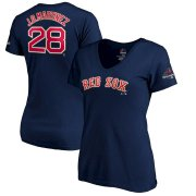 Wholesale Cheap Boston Red Sox #28 J.D. Martinez Majestic Women's 2019 Gold Program Name & Number V-Neck T-Shirt Navy