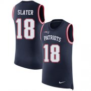 Wholesale Cheap Nike Patriots #18 Matt Slater Navy Blue Team Color Men's Stitched NFL Limited Rush Tank Top Jersey