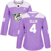Wholesale Cheap Adidas Predators #4 Ryan Ellis Purple Authentic Fights Cancer Women's Stitched NHL Jersey
