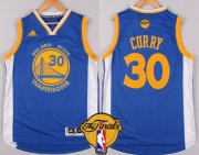 Wholesale Cheap Men's Golden State Warriors #30 Stephen Curry Blue 2017 The NBA Finals Patch Jersey