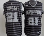 Wholesale Cheap San Antonio Spurs #21 Tim Duncan Gray With Black Pinstripe Jersey