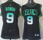 Wholesale Cheap Boston Celtics #9 Rajon Rondo Vibe Black Fashion Womens Jersey