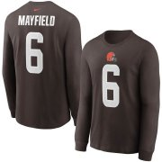 Wholesale Cheap Cleveland Browns #6 Baker Mayfield Nike Player Name & Number Long Sleeve T-Shirt Brown