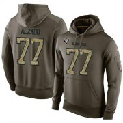 Wholesale Cheap NFL Men's Nike Oakland Raiders #77 Lyle Alzado Stitched Green Olive Salute To Service KO Performance Hoodie