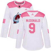 Wholesale Cheap Adidas Avalanche #9 Lanny McDonald White/Pink Authentic Fashion Women's Stitched NHL Jersey