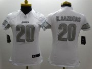 Wholesale Cheap Nike Lions #20 Barry Sanders White Women's Stitched NFL Limited Platinum Jersey