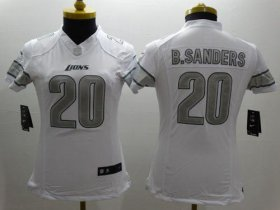 Wholesale Cheap Nike Lions #20 Barry Sanders White Women\'s Stitched NFL Limited Platinum Jersey