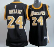 Wholesale Cheap Los Angeles Lakers #24 Kobe Bryant Black With Gold Womens Jersey