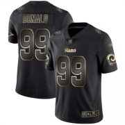 Wholesale Cheap Nike Rams #99 Aaron Donald Black/Gold Men's Stitched NFL Vapor Untouchable Limited Jersey