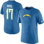 Wholesale Cheap Nike Los Angeles Chargers #17 Philip Rivers Name & Number NFL T-Shirt Electric Blue