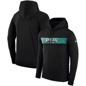 Wholesale Cheap Men\'s Philadelphia Eagles Nike Black Sideline Team Performance Pullover Hoodie