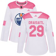Wholesale Cheap Adidas Oilers #29 Leon Draisaitl White/Pink Authentic Fashion Women's Stitched NHL Jersey