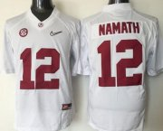 Wholesale Cheap Men's Alabama Crimson Tide #12 Joe Namath White 2016 Playoff Diamond Quest College Football Nike Limited Jersey