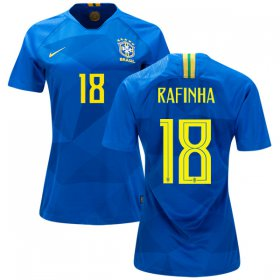Wholesale Cheap Women\'s Brazil #18 Rafinha Away Soccer Country Jersey