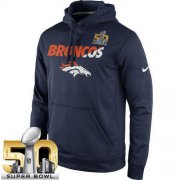 Wholesale Cheap Men's Denver Broncos Nike Navy Super Bowl 50 Kick Off Staff Performance Pullover Hoodie