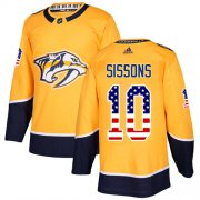 Wholesale Cheap Adidas Predators #10 Colton Sissons Yellow Home Authentic USA Flag Stitched NHL Jersey