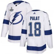 Cheap Adidas Lightning #18 Ondrej Palat White Road Authentic Youth 2020 Stanley Cup Champions Stitched NHL Jersey
