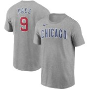 Wholesale Cheap Chicago Cubs #9 Javier Baez Nike Name & Number T-Shirt Gray