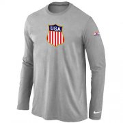 Wholesale Cheap Nike Team USA Hockey Winter Olympics KO Collection Locker Room Long Sleeve T-Shirt Light Grey