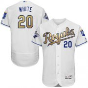 Wholesale Cheap Royals #20 Frank White White 2015 World Series Champions Gold Program FlexBase Authentic Stitched MLB Jersey