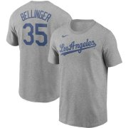 Wholesale Cheap Los Angeles Dodgers #35 Cody Bellinger Nike Name & Number T-Shirt Gray