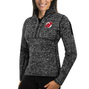 Wholesale Cheap New Jersey Devils Antigua Women's Fortune 1/2-Zip Pullover Sweater Charcoal